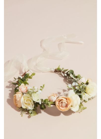 Boho Faux Flower Crown with Organza Ribbon - Wedding Accessories