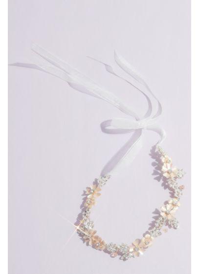 Painted Floral and Crystal Tieback Headband - Elegantly blooming with a handmade look, this metal