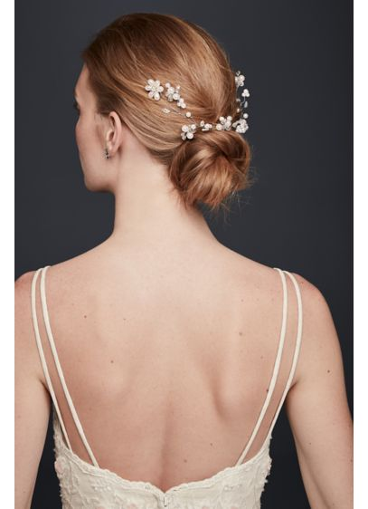 David's Bridal Grey (Pearl Blossom Wire Hair Vine)