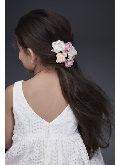 Fabric Rosette Flower Girl Hair Clip Set - Give your flower girl's hairstyle a fun, fresh