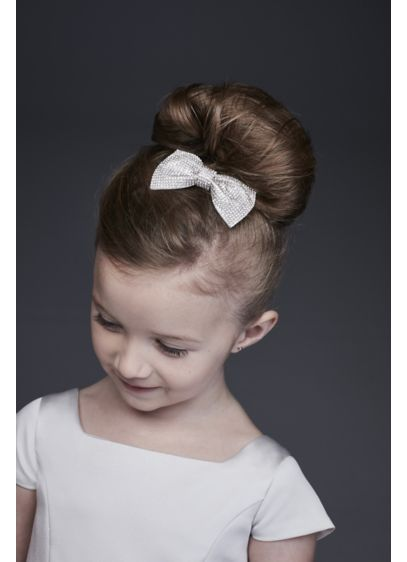 David's Bridal Grey (Crystal-Topped Flower Girl Hair Bow)