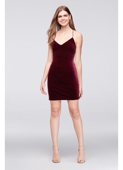 Deep V-Neck Velvet Mini Dress. H734537. Short Sheath Spaghetti Strap  Cocktail and Party Dress - Teeze Me adcea8f7f