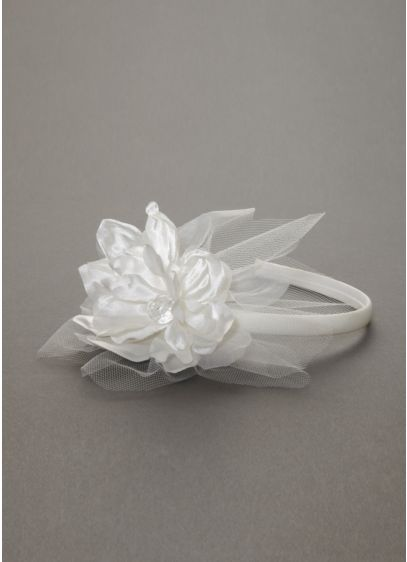 Flower Girl Headband with Flower and Tulle Pouf - Wedding Accessories