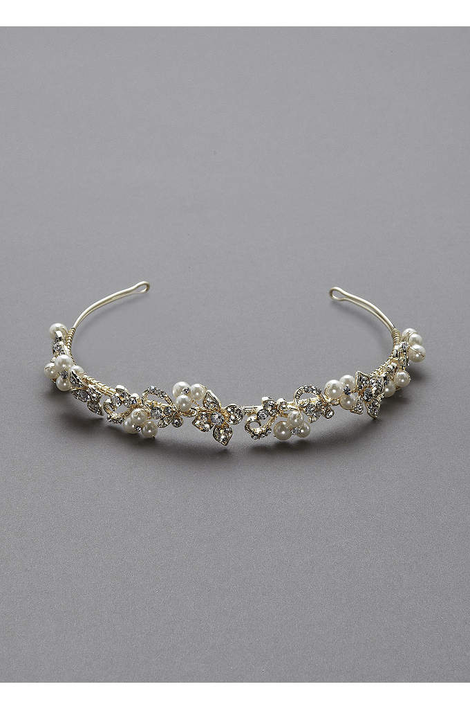 Crystal Floral and Pearl Cluster Headband