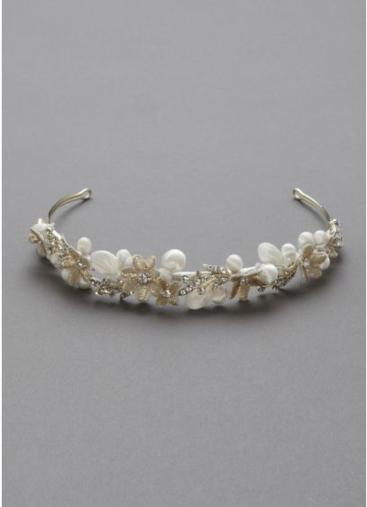 Embellished Headband with Flowers and Crystals - Wedding Accessories