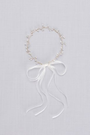 Crystal Sprig Headband with Organza Ribbons - Dainty crystal buds and solitaires create an extra-special