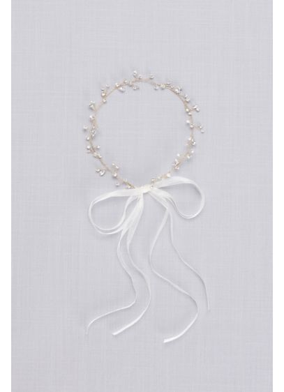 Crystal Sprig Headband with Organza Ribbons - Wedding Accessories
