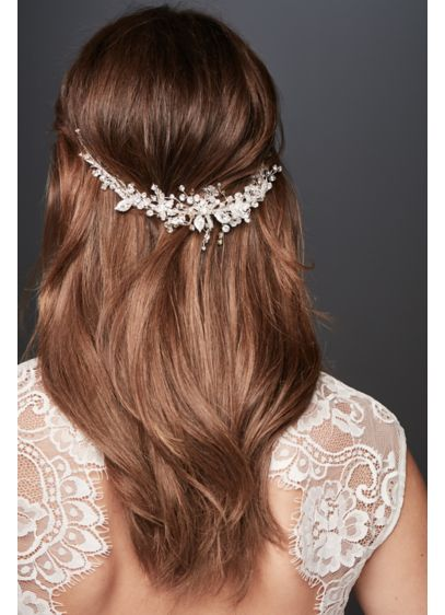 David's Bridal Grey (Blooming Crystal Floral and Branch Hairpiece)