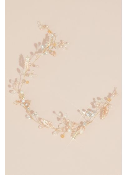 Gilded Leaves Head Piece with Beads and Pearls - Wedding Accessories