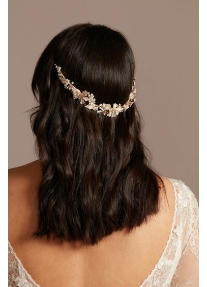 Filigreed Leaf Crystal and Pearl Headband - Wedding Accessories