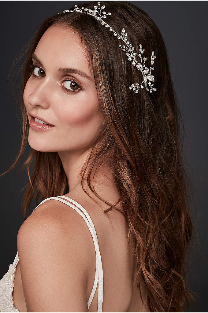 Crystal Laurel Ribbon Headband - Dazzling crystal buds create an extra-luminous 'do. Wear