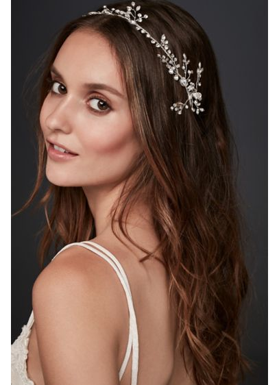 Crystal Laurel Ribbon Headband - Dazzling crystal buds create an extra-luminous 'do. Wear