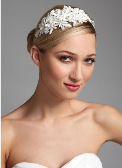 David's Bridal Ivory (Lace Floral Headband with Pearl Accents)