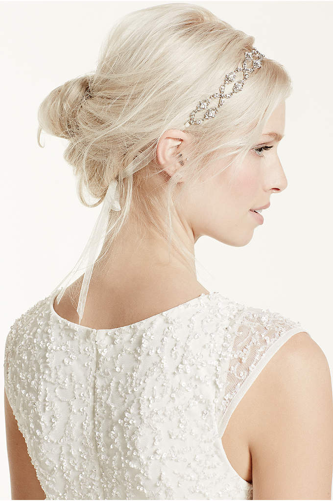 Crisscross Crystal Tie Back Ribbon Headband