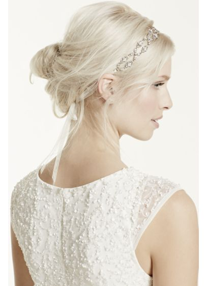 Crisscross Crystal Tie Back Ribbon Headband - Wedding Accessories