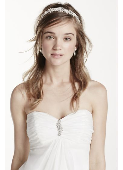 David's Bridal Grey (Crystal Medallion Headband with Pearl Accents)
