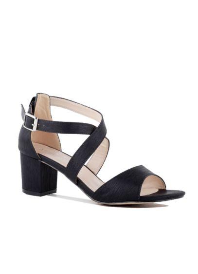 Pink Paradox Black (Shimmery Crisscross Strap Block Heel Sandals)