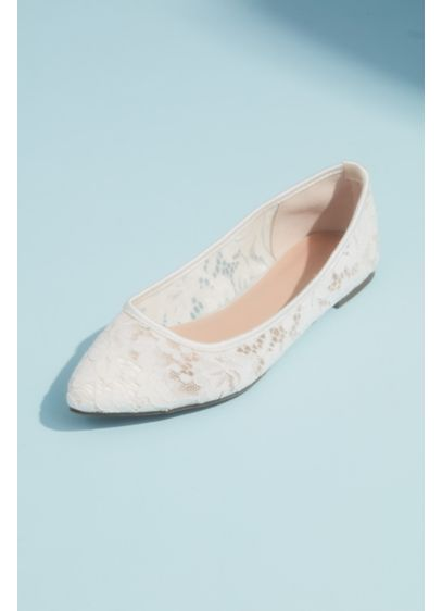David's Bridal Ivory (Illusion Lace Pointed Toe Flats with Satin Piping)