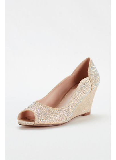 Blossom Beige (Crystal Peep Toe Glitter Wedge by Blossom)
