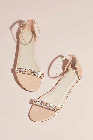Sandalias de Piso Con Cristales en Cinta