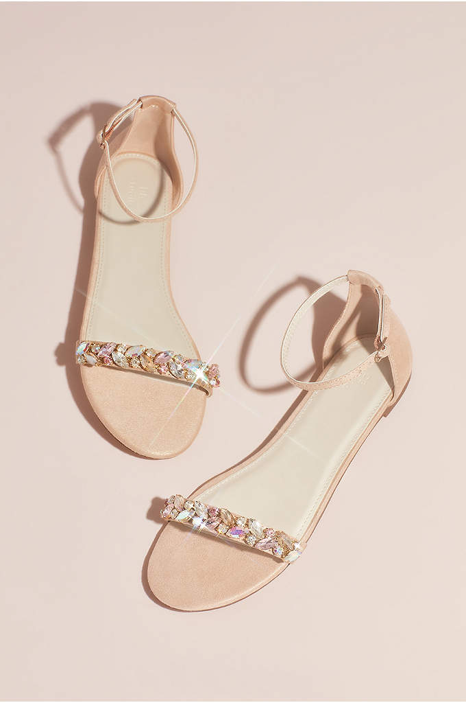 Faux-Suede Gem Strap Flat Sandals - Chunky iridescent gems form a laurel leaf pattern