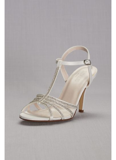 David's Bridal White (Crystal T-Strap High Heel Sandal)