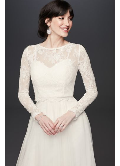 Long Sleeve Sheer Floral Lace Wedding Dress Topper - A long-sleeve lace topper is an elegant way