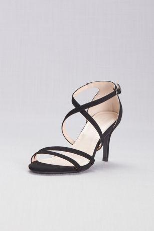 David's Bridal Beige;Black Sandals (Crisscross Strap High Heel Sandals)