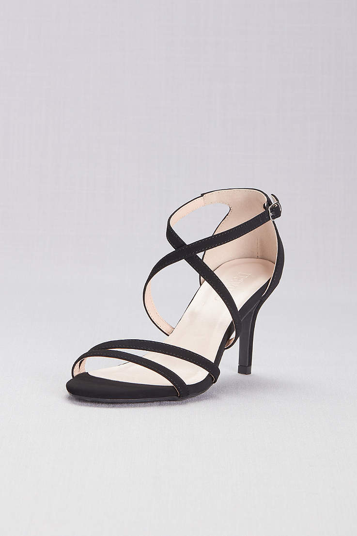 a4d62a6c850 David s Bridal Beige Black Sandals (Crisscross Strap High Heel Sandals)