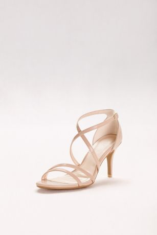 David's Bridal Beige;Black Sandals (Crisscross Strap High Heel Sandals)