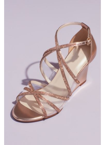 Crystal and Illusion Crossed Metallic Wedges - Hit the dance floor with comfortable-cool confidence in