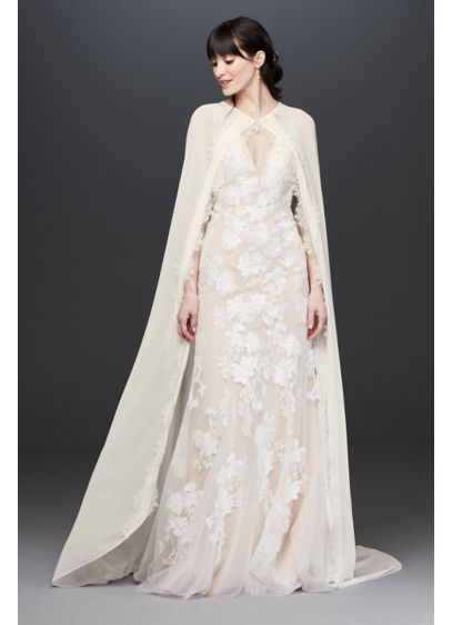 Floor Length Chiffon Bridal Cape with Lace Trim - Top your wedding-day look with this vintage-inspired, floor-length