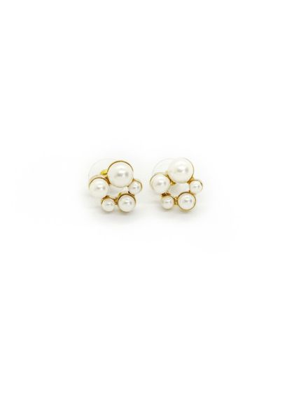 Faux Pearl Cluster Stud Earrings - Featuring different-sized faux pearls and sterling silver or