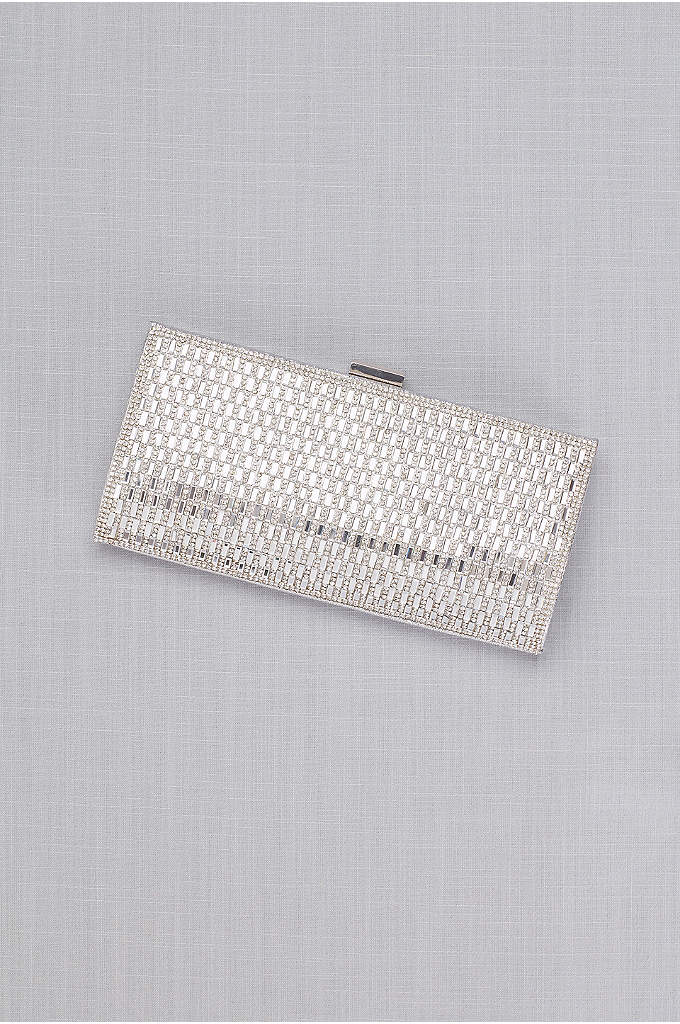 Rhinestone Baguette Clutch with Foil Back - Slip your essentials into this sparkly show-stopper of