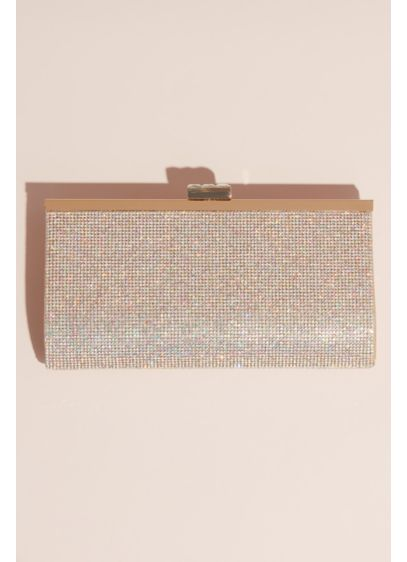 Crystal and Metallic Clutch with Crystal Clasp - This clutch has allover dazzle: one side is