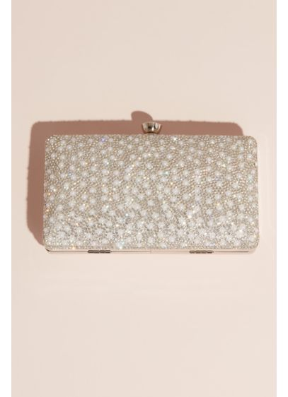 Crystal and Pearl Embellished Glitter Box Clutch - This box clutch, with one side completely covered