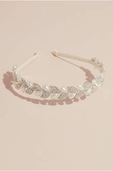 Crystal Leaves and Pearl Teardrop Headband