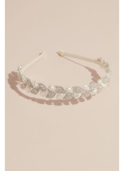 Crystal Leaves and Pearl Teardrop Headband - Featuring a garland of alternating crystal leaves and