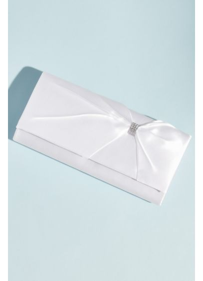 Dyeable Satin Baguette Clasp with Embellished Bow - This satin baguette clutch ups the formal factor