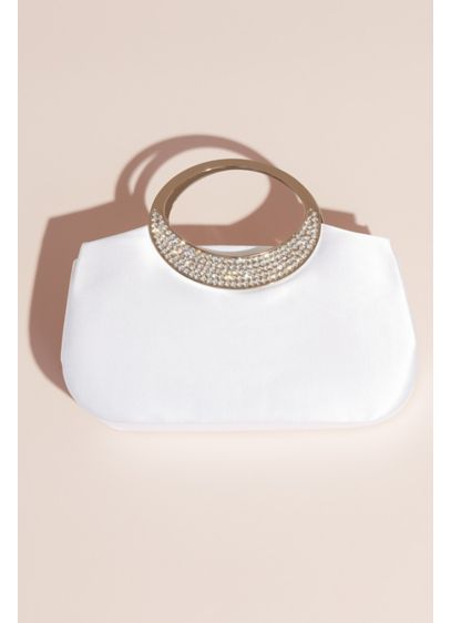 Dyeable Satin Clutch with Rhinestone Handle - Topped with a stunning rhinestone handle, this dyeable