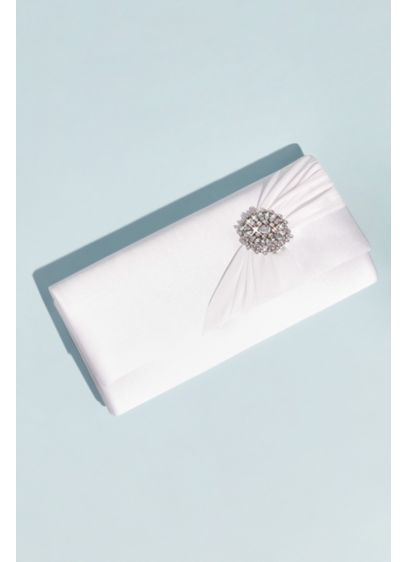 Dyeable Satin Clutch with Shirred Embellishment - This satin baguette clutch is perfect for your