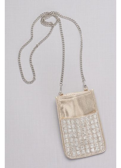 David's Bridal Ivory (Gridded Crystal Mini Bag with Chain Strap)
