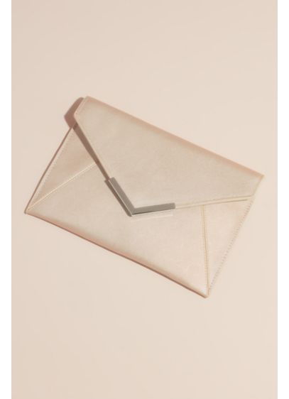 David's Bridal Ivory (Matte Metallic Envelope Clutch with Gilded Tip)