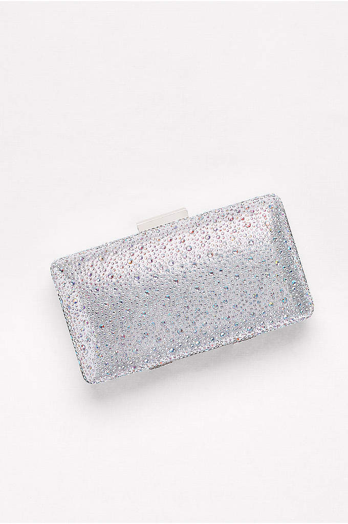 Crystal Scatter Minaudiere - This metallic minaudiere is scattered with crystals and