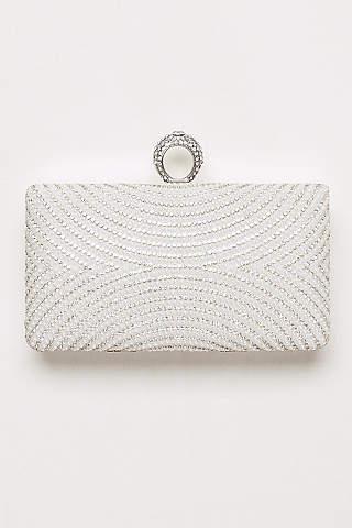 Bolso Tipo Clutch Con Curvas de Perlas y Cristales