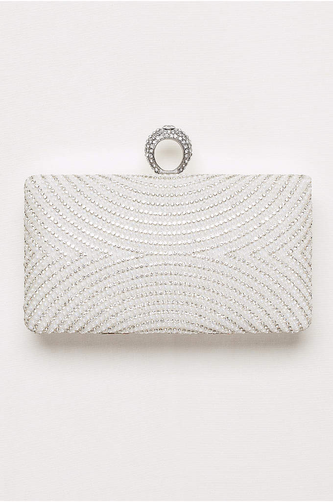 Curved Pearl and Crystal Minaudiere - Geometric alternating pearls and crystals give this sparkly