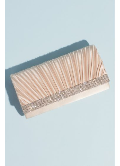 Pleated Fold Satin Baguette Bag with Crystal Trim - This baguette clutch is the picture of elegance.