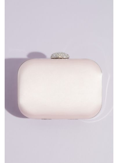 Satin Minaudiere with Crystal Clasp - This sophisticated minaudiere is crafted of soft, lustrous