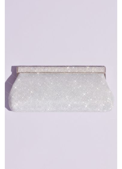 David's Bridal Grey (Crystal Top Clasp Glitter Baguette Clutch)