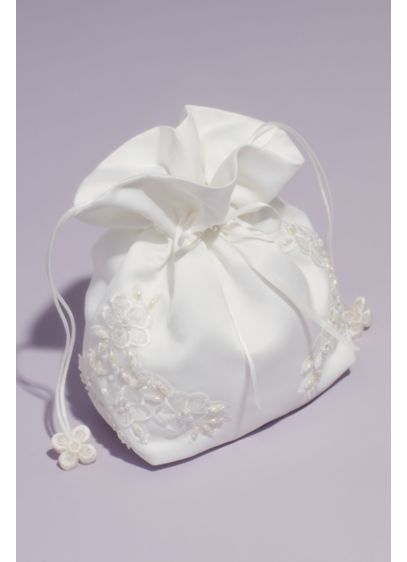 Bead and Floral Embellished Satin Money Bag - This drawstring satin pouch is adorned with pearls